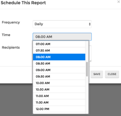 Choose the time of day that your report arrives.