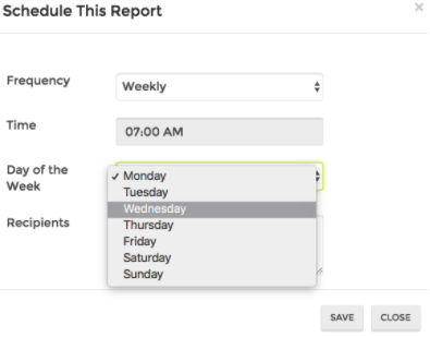 Set up your reports weekly, choosing the time and day.